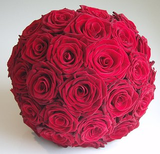 Red Rose Wedding Bouqet.Large Red Roses Bridal Bouquet
