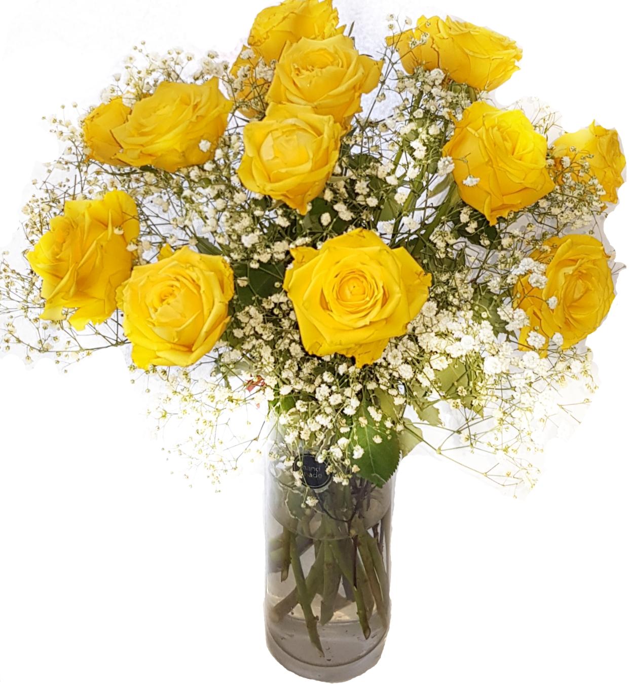 Yellow Roses And Baby S Breath Flowerandballooncompany Com